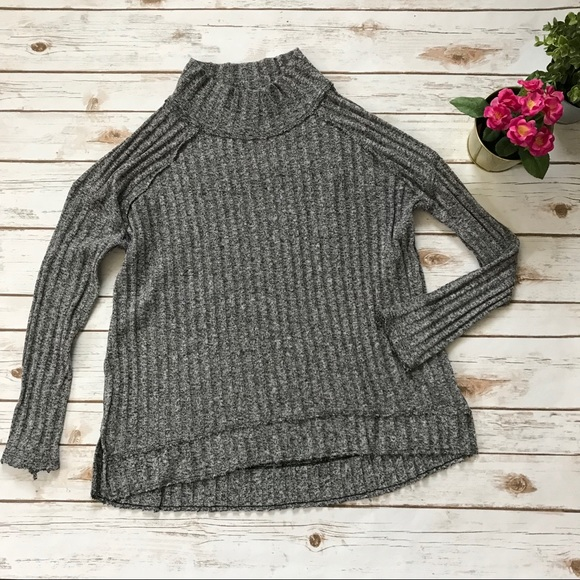 76040bbe35 Free People Sweaters - Free People Ribbed Mock Neck Sweater Gray Large A3